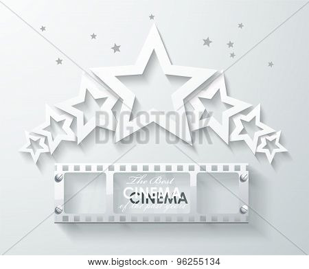 Cinema Banner With White Paper Stars And Film Tape.