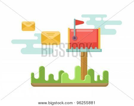 Mailbox at lawn with envelopes concept in flat style