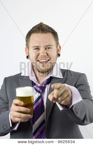 Happy Drunk And Pointing Office Worker
