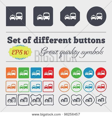 Taxi Icon Sign. Big Set Of Colorful, Diverse, High-quality Buttons. Vector