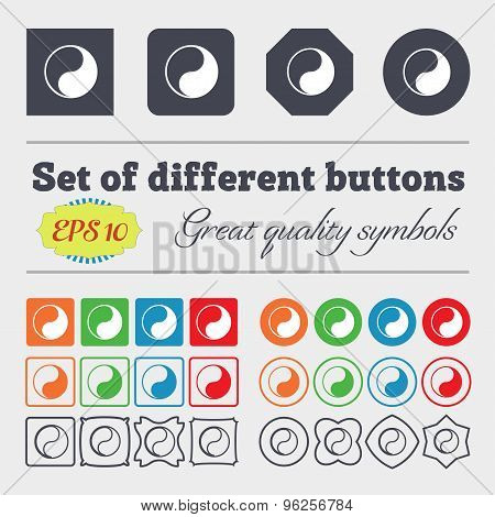 Yin Yang Icon Sign. Big Set Of Colorful, Diverse, High-quality Buttons. Vector