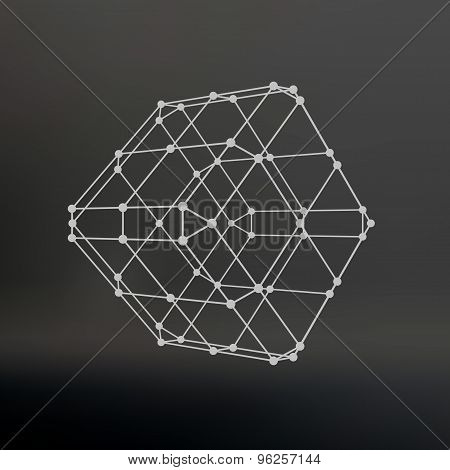 Cube of lines and dots. Cube of the lines connected to points. Molecular lattice. The structural gri