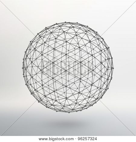 Scope of lines and dots. Ball of the lines connected to points. Molecular lattice. The structural gr