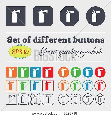 Extinguisher Icon Sign. Big Set Of Colorful, Diverse, High-quality Buttons. Vector