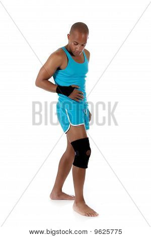 Young  Attractive African American Man Athlete, Bandaged