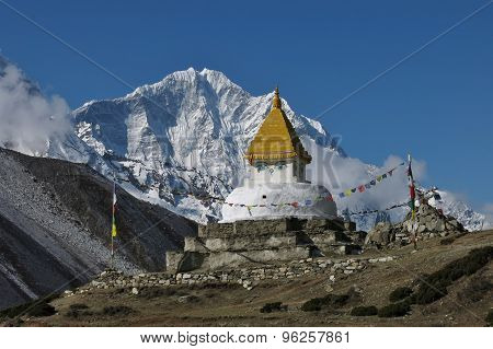 Stupa And Snow Capped Mountain Thamserku