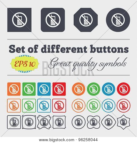 Mobile Phone Is Prohibited Icon Sign. Big Set Of Colorful, Diverse, High-quality Buttons. Vector