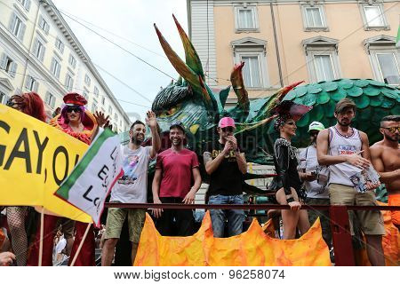 ROME ITALY - JUNE 13 2015: Rome hosts a popular Pride celebration - Rome Gay Pride on June 13 2015. Rome Gay Pride parade takes place on this day drawing thousands of spectators and participants