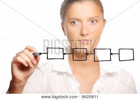 Young Businesswoman Writing A Diagram On Glass