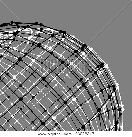 Mesh polygonal background. Scope of lines and dots. Ball of the lines connected to points. Molecular