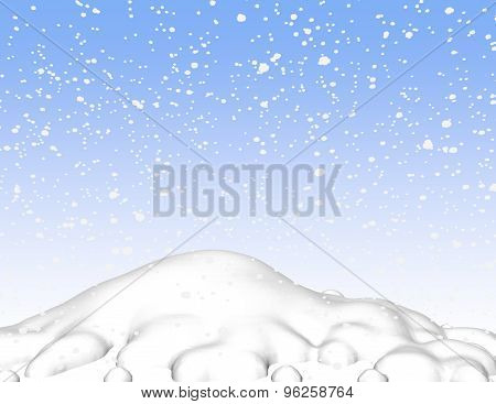 Snow 3D Scene Background With Sky And Snowy Hill.