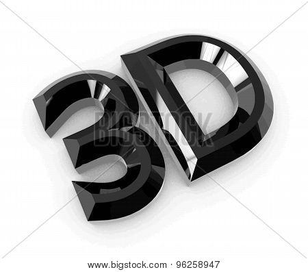 Glossy black 3D logo isolated on white background with reflection effect. Vector illustration.