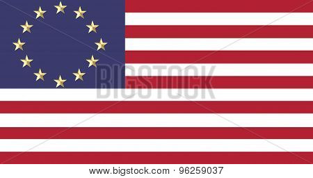 European and American flags united