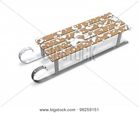 3D Sledge Isolated On White With A Snow Render Illustration.