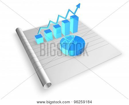 3D Blue Graph On Curled Paper, Economy And Finances Concept Illustration. Render Isolated On White.