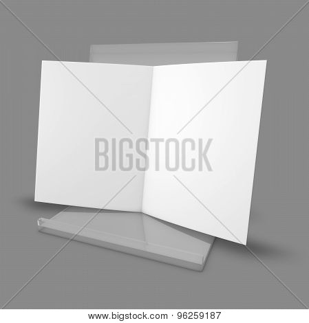 Blank Leaflet Standing On Plastic Transparent Stand.