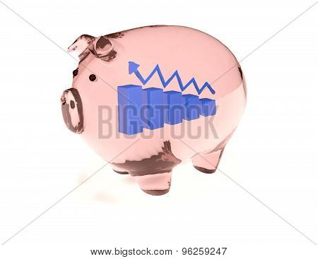 Transparent Glass Piggy Bank With Financial Blue Graph And Arrow Inside.