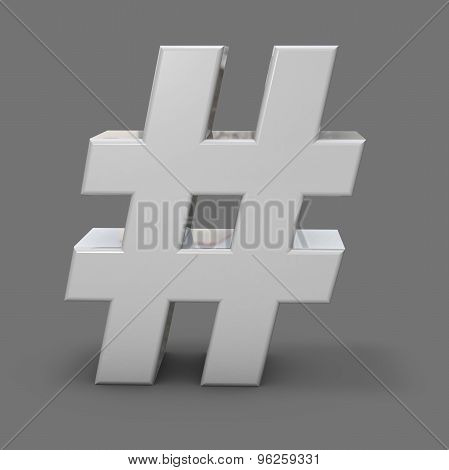 3D Shiny Metal Hash Tah, Grey Background, Social Media And Communication Idea.