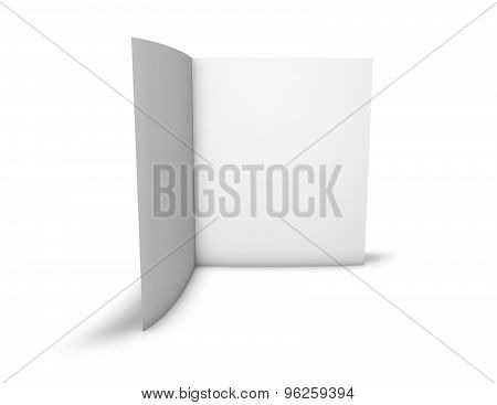 Blank Two Page Brochure Standing In Vertical Position With White Pages, Copy Space, Isolated.
