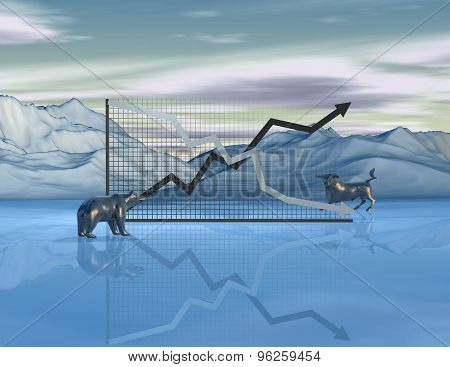 Stock Exchange Market Abstract Concept With Graph, Bull And Bear, Finances End Economy Idea.