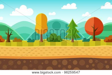 Seamless Cartoon Nature Landscape. Layered Ground, Grass, Trees, Mountains, Clouds And Sky