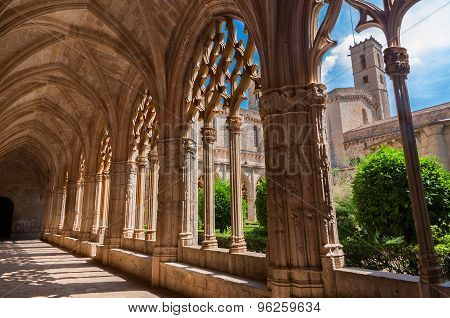 View Of The Cloister Of Monastery Of Santa Maria De Santes Creus, Catalonia