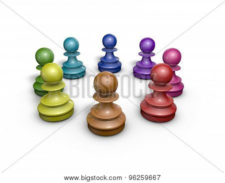 Working Together In Team Abstract Concept With Colorful Chess Pawns, Illustration Isolated.