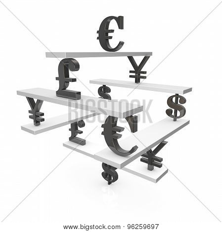 Forex Market Concept With Currencies Symbols And Scales, Illustration Isolated.