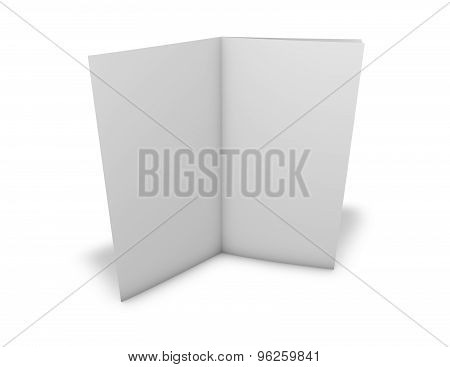 Flier, Leaflet With Blank White Pages And Shadow, Four Pages Brochure.
