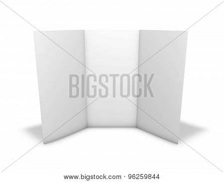 Tall Triple Leaflet, Blank Page, Standing On Floor. Isolated On White.