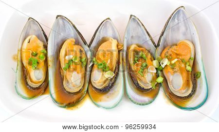 Fresh Mussels For Grill Isolate On White Background