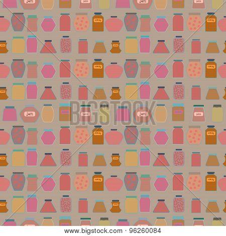 Mason jars  seamless pattern. Flat  style vector illustration.