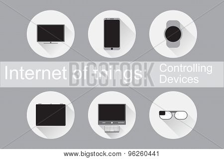 Internet of Things, IoT. Controlling Devices. Set of flat icons. Vector Illustration EPS10.