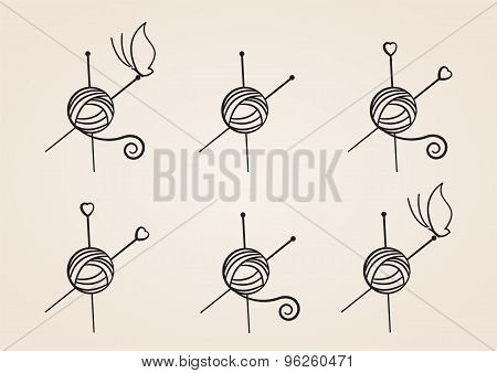 Yarn Balls with needles, butterfly. Set of Logos. Vector Illustration EPS10.