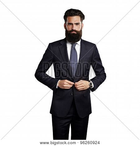 Bearded man wearing smart suit