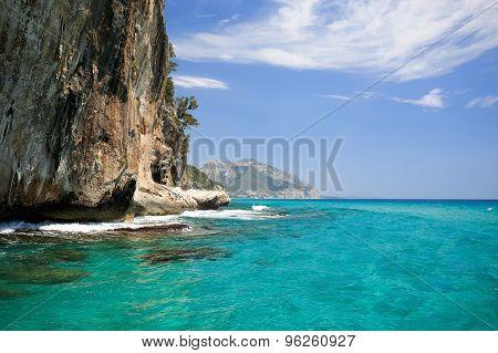 Huge cliff in Orosei Gulf (Grotte del bue Marino), Cala Gonone, Sardinia,Italy