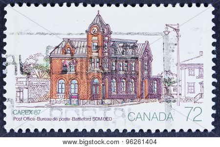 Old post office on a stamp