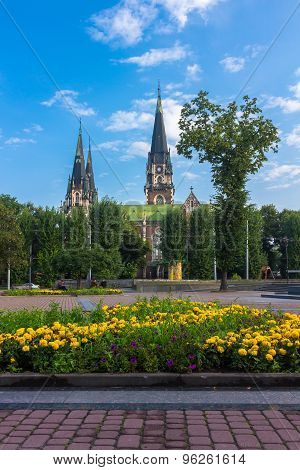 Lviv, Church of Sts. Olha and Elizabeth in the morning