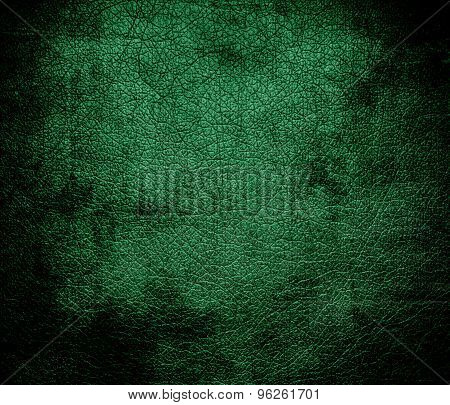 Grunge background of dark spring green leather texture