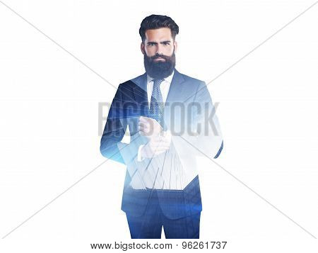 Double exposure of businessmen and skyscraper