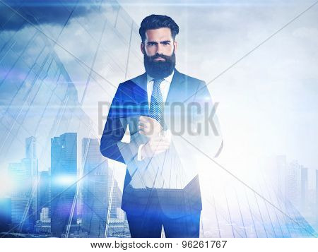 DE of businessmen and skyscraper on megalopolis background with sun lights