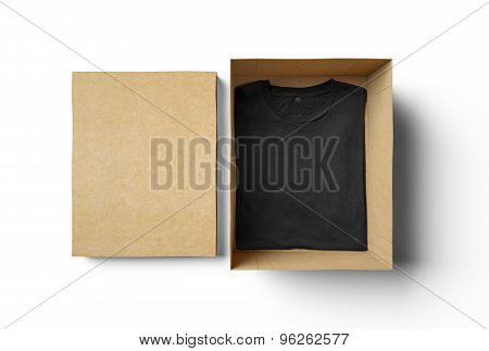 Empty isolated box and black tshirt