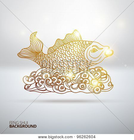 Vector illustration with Feng Shui fish.