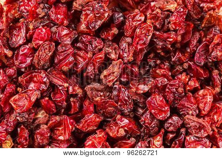 Dried Red Tibetan Spicy Barberries Placer Background