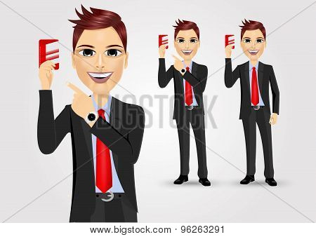 businessmen pointing to business card