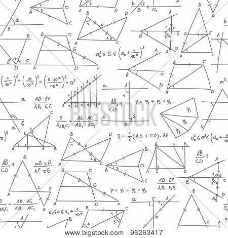School Seamless Vector Doodle Pattern With Different Mathematical Formulas