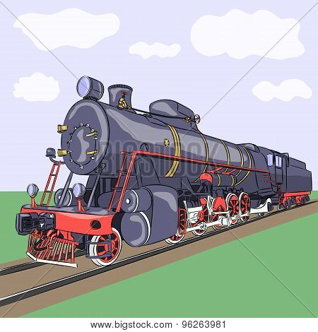 Vector. Old Steam Locomotive.