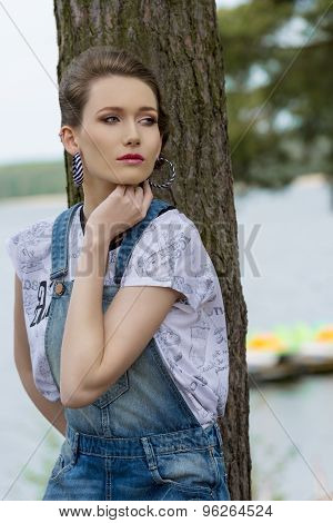 Casual Woman In The Nature