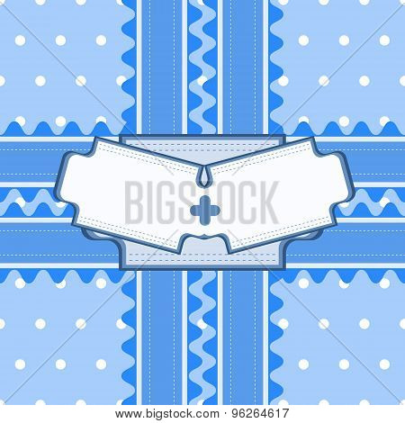 Beautiful Seamless Pattern With Lace And Double Card In Blue Color