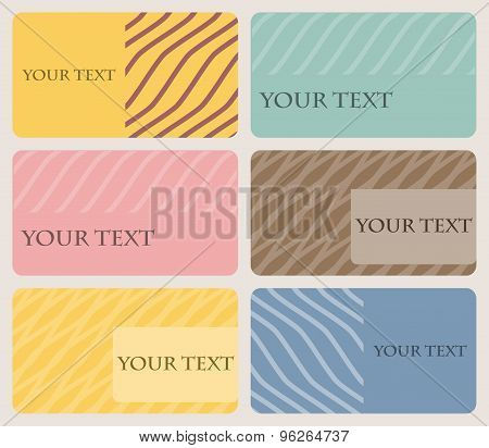 Set Of Six Business Cards With Rounded Corners